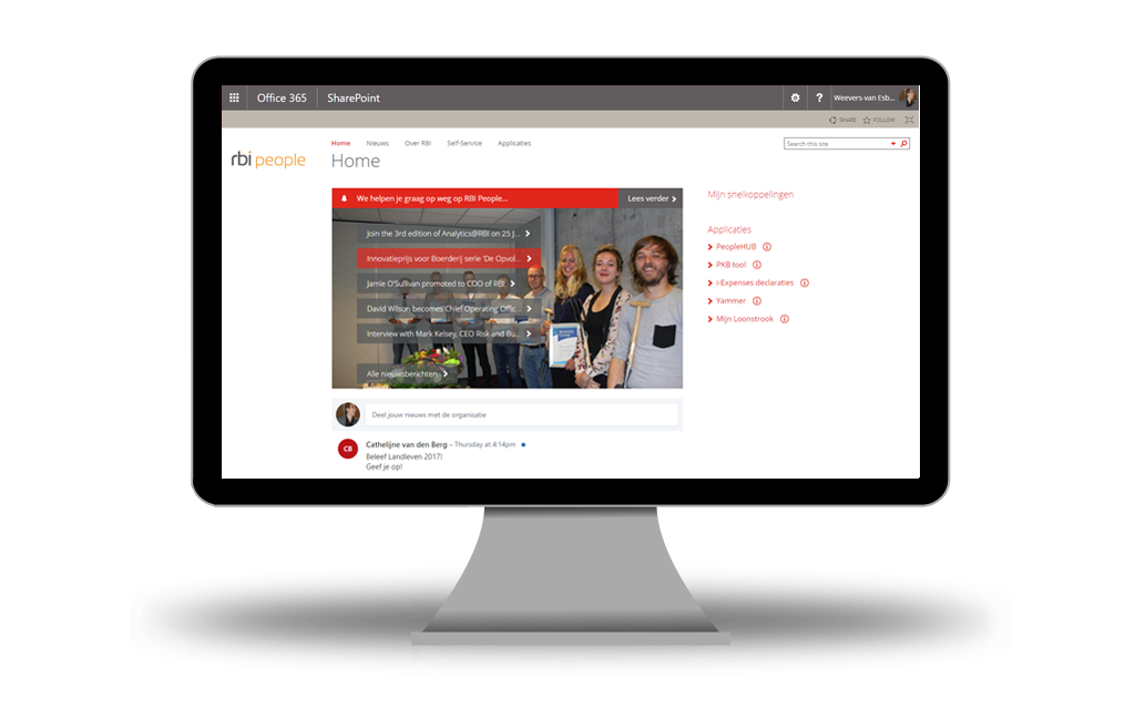 RBI new intranet and digital workplace home