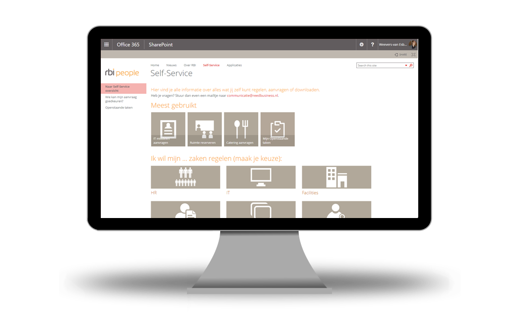 RBI new intranet and digital workplace self service