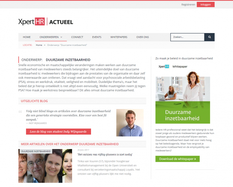 An HR-subject with an introduction, featured content and the latest news