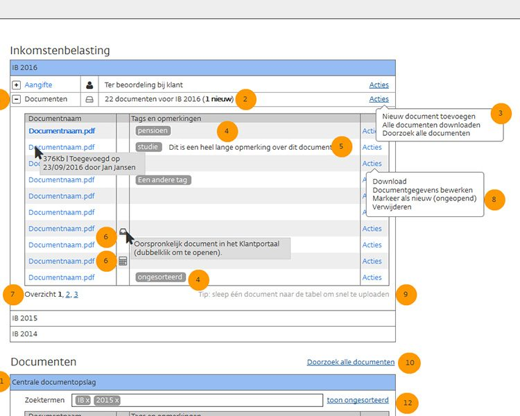 Mockup (zoomed-in) of document management functionality in Nextens with annotations to discuss functionality with the agile development team
