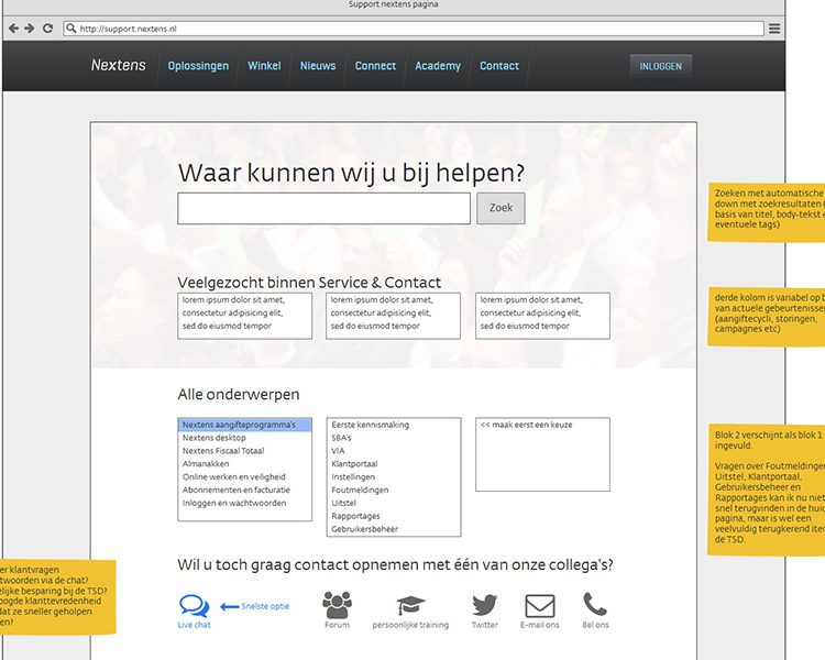 Initial mockup to explain the idea for an improved customer support section on the public Nextens website with explanations of functionality to stakeholders